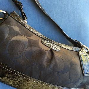 New Patent leather signature fabric coach handbag